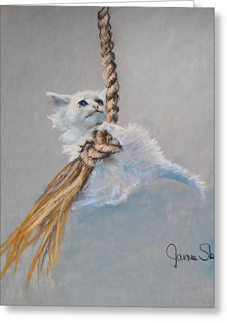 Rope Pastels Greeting Cards - Hanging On Greeting Card by James Skiles