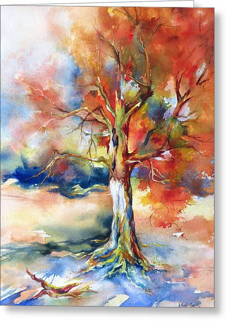 Lightning Strike Paintings Greeting Cards - Hanging On Greeting Card by Wendy Ike