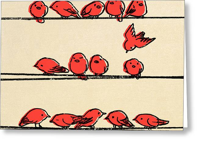 Retro Bird Greeting Cards - Hanging Out Greeting Card by Eric Fan