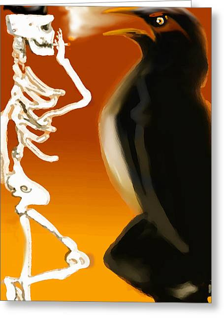 Raven Greeting Cards - Hanging out Greeting Card by Marcello Cicchini