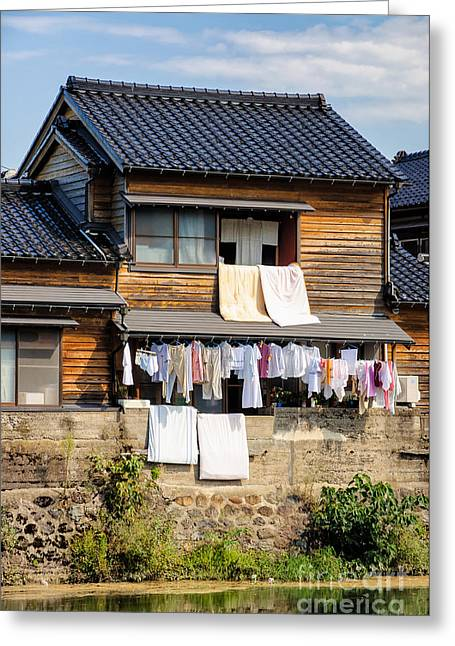 Hanging Out To Dry - Laudry Day In Japan Greeting Card by David Hill