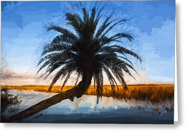 Paradise Road Greeting Cards - Leaning Palm Tree Loop Road Painted  Greeting Card by Rich Franco