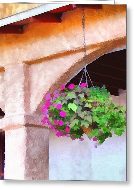 Hanging Planter Greeting Cards - Hanging Planter - impressionistic   Greeting Card by Ann Powell