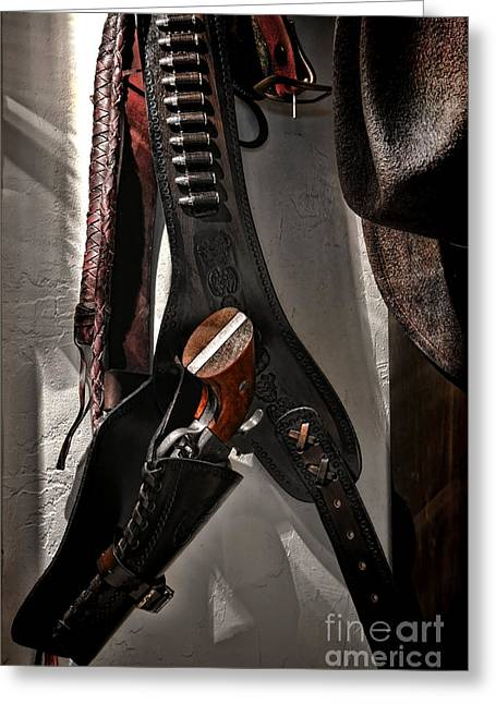 Guns Photographs Greeting Cards - Hanging Revolver Greeting Card by Olivier Le Queinec