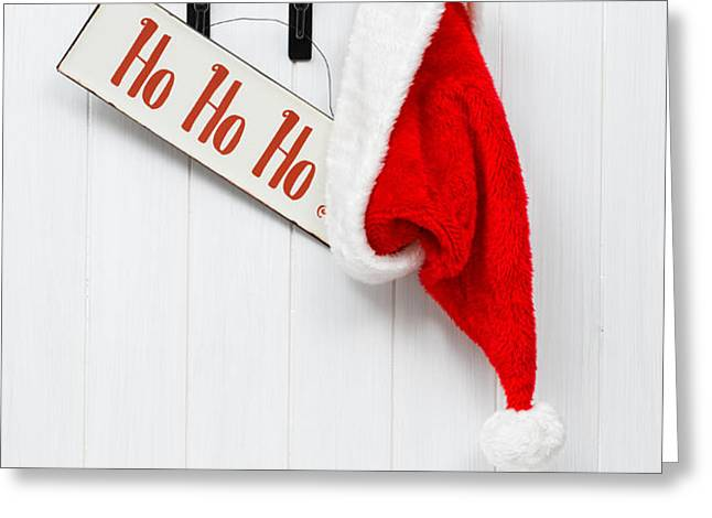 Hanging Santa Hat and Sign Greeting Card by Amanda And Christopher Elwell