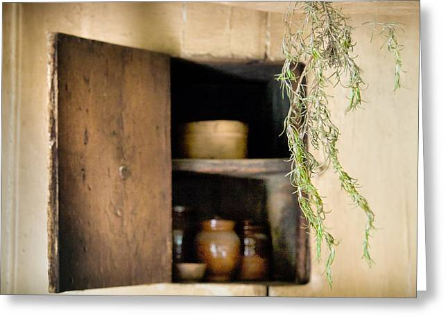 Memorable Greeting Cards - Hanging spice and cupboard - Rosemary - Cottage Chic Greeting Card by Gary Heller