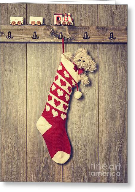 Furry Coat Greeting Cards - Hanging Stocking Greeting Card by Amanda And Christopher Elwell