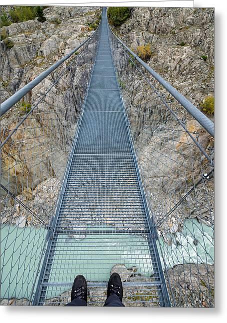 First Step Greeting Cards - Hanging suspension bridge Massaschlucht Swiss Alps Switzerland Greeting Card by Matthias Hauser
