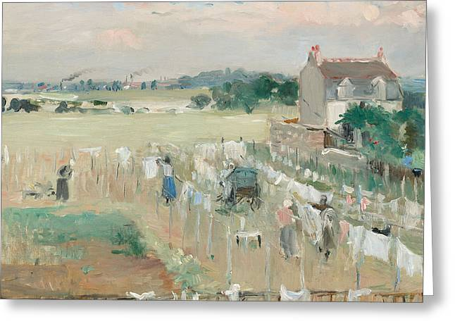 Shade Greeting Cards - Hanging the Laundry out to Dry Greeting Card by Berthe Morisot