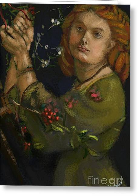 Carrie Joy Byrnes Greeting Cards - Hanging the Mistletoe Greeting Card by Carrie Joy Byrnes