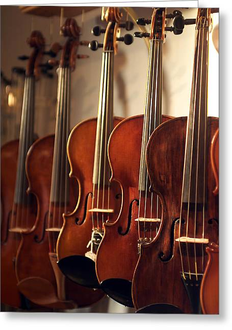 Philharmonic Greeting Cards - Hanging Violins Greeting Card by Jon Neidert