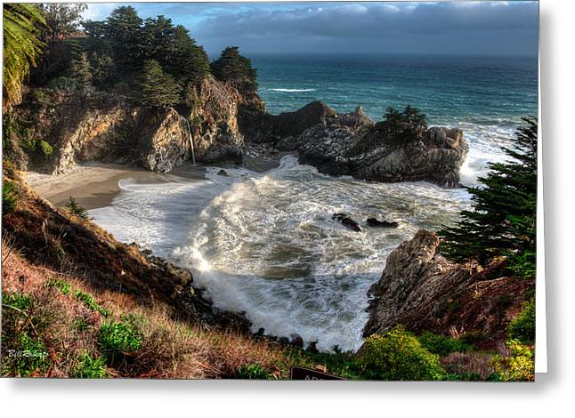 Big Sur Greeting Cards - Hanging Waterfall In Big Sur Greeting Card by Bill Roberts