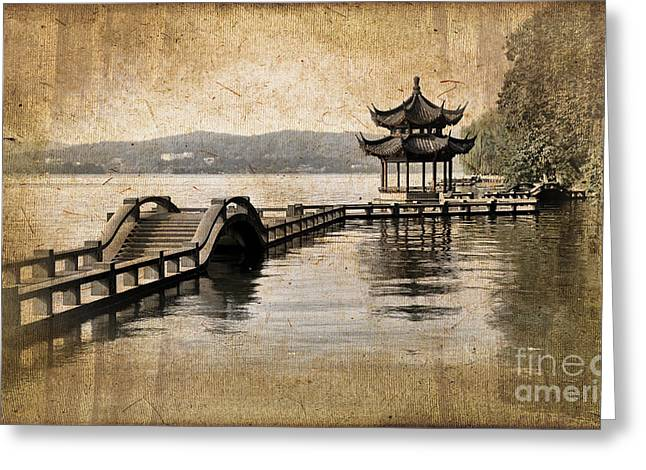 Hangzhou Lake Greeting Card by Delphimages Photo Creations