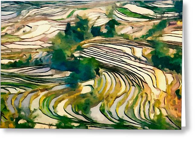 Fenghuang Greeting Cards - Hani Rice Terraces Of Yuanyang 3 Greeting Card by Lanjee Chee