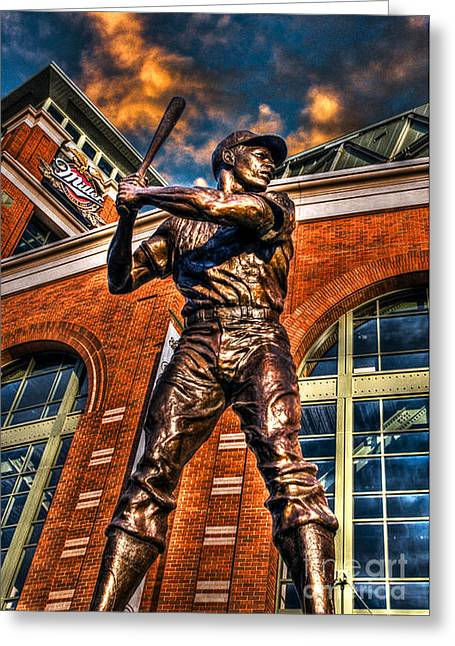 Hank Aaron Greeting Cards - Hank Aaron in HDR Greeting Card by Tommy Anderson
