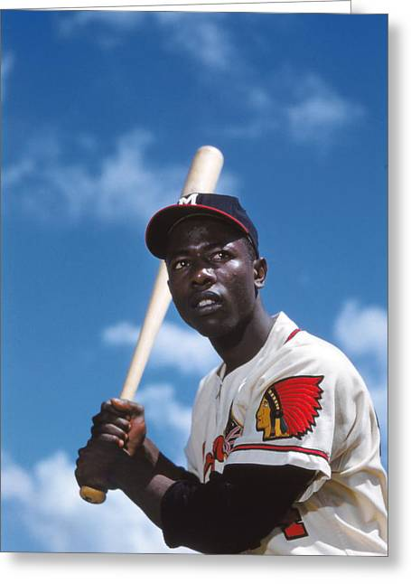 Intensity Greeting Cards - Hank Aaron of the Milwaukee Braves Greeting Card by Retro Images Archive