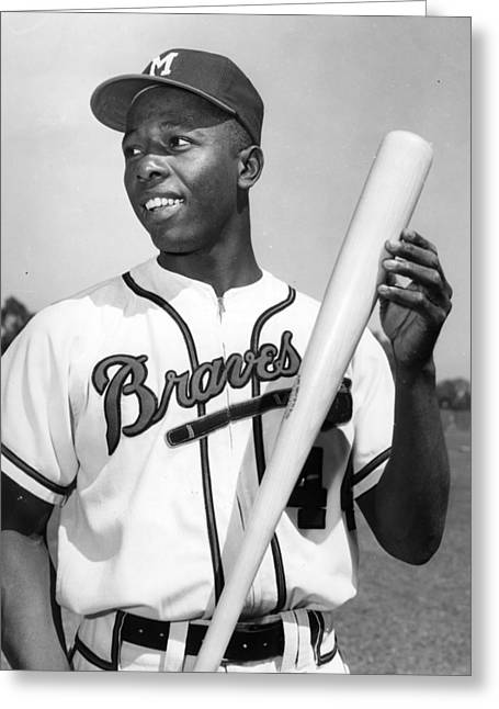 National League Baseball Photographs Greeting Cards - Hank Aaron Poster Greeting Card by Gianfranco Weiss