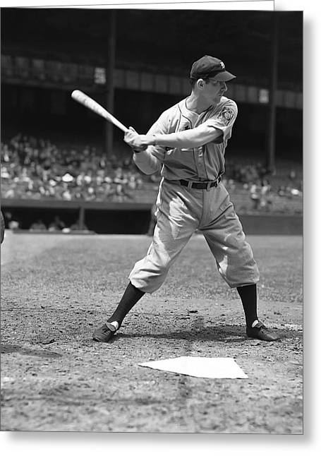 Hank Greeting Cards - Hank Greenberg At The Plate Greeting Card by Retro Images Archive