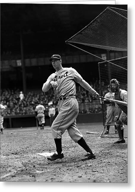 Slugger Greeting Cards - Hank Greenberg Follow Through Greeting Card by Retro Images Archive