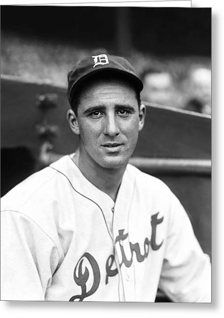 Retro Antique Greeting Cards - Hank Greenberg Looking Into Camera Greeting Card by Retro Images Archive