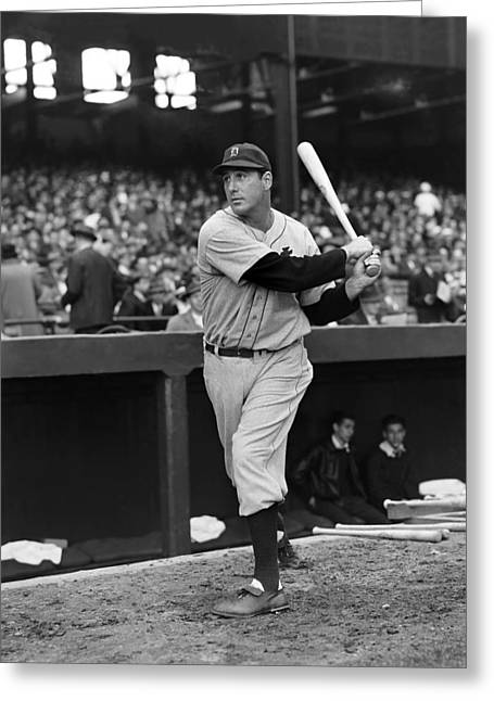 Slugger Greeting Cards - Hank Greenberg Outside Dug Out Greeting Card by Retro Images Archive