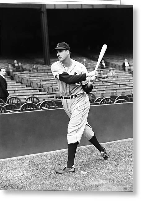 Historical Pictures Greeting Cards - Hank Greenberg Practice Swing Greeting Card by Retro Images Archive