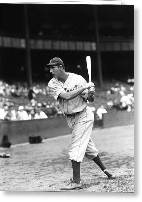 Slugger Greeting Cards - Hank Greenberg Pre Game Swinging Greeting Card by Retro Images Archive