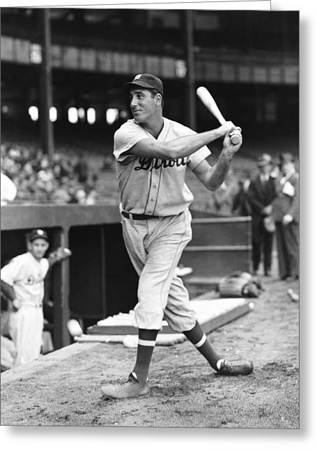 Hank Greeting Cards - Hank Greenberg Stance And Swing Greeting Card by Retro Images Archive