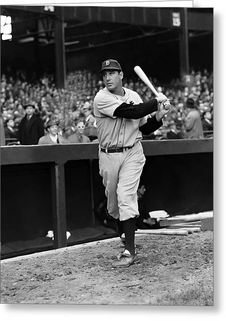 Retro Antique Greeting Cards - Hank Greenberg Swinging Outside Dug Out Greeting Card by Retro Images Archive