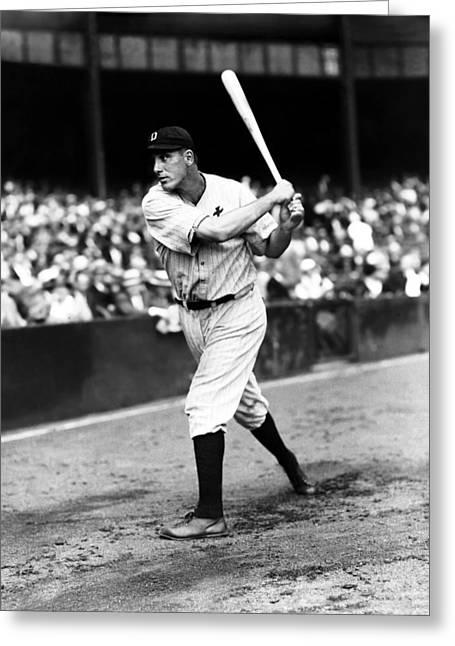 Hank Greeting Cards - Hank Greenberg Swinging Greeting Card by Retro Images Archive