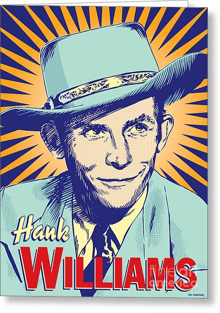 Hank Greeting Cards - Hank Williams Pop Art Greeting Card by Jim Zahniser