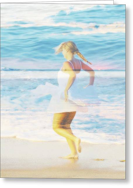 North Sea Greeting Cards - Hannah White Dress on Beach in Blue Double Exposure  Greeting Card by Randy Steele