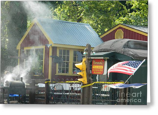 Soul Food Greeting Cards - Hannahs Train Depot Seafood And BBQ Greeting Card by Emmy Marie Vickers