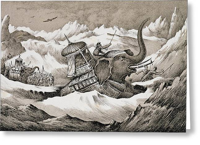 Courage Greeting Cards - Hannibal And His War Elephants Crossing Greeting Card by English School