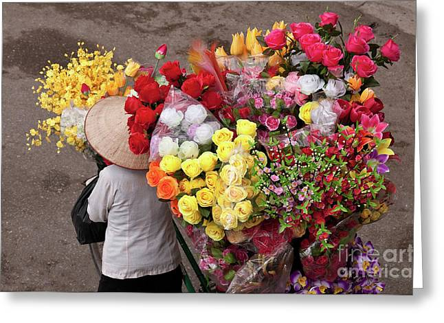 Artificial Flowers Greeting Cards - Hanoi Flowers 02 Greeting Card by Rick Piper Photography