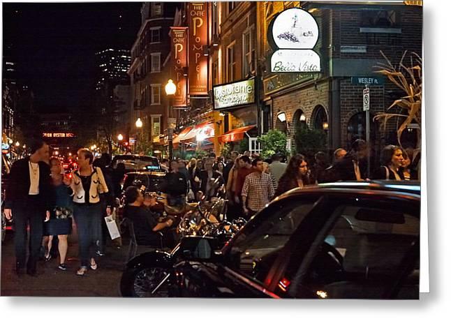 Hanover Street Nights - Boston Greeting Card by Joann Vitali