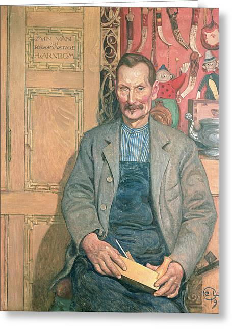 Mustache Paintings Greeting Cards - Hans Arnbom The Carpenter Greeting Card by Carl Larsson