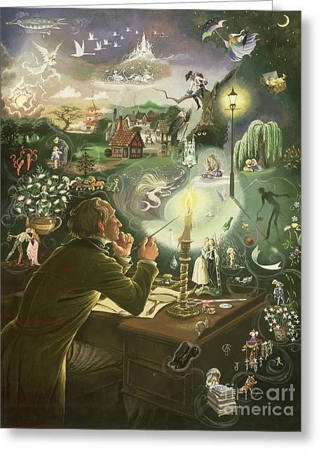 Flames Paintings Greeting Cards - Hans Christian Andersen Greeting Card by Anne Grahame Johnstone