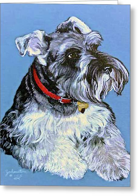 Puppies Mixed Media Greeting Cards - Hans The Schnauzer Portrait Greeting Card by  Bob and Nadine Johnston