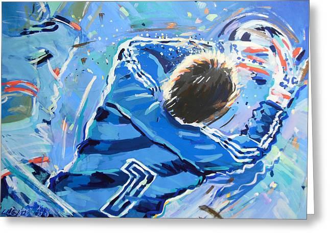 Goalkeeper Paintings Greeting Cards - Hans van Breukelen EK 88 Greeting Card by Lucia Hoogervorst
