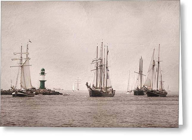 Boots Pyrography Greeting Cards - Hanse Sail Greeting Card by Steffen Gierok