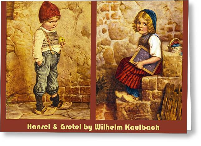 Little Boy Greeting Cards - Hansel and Gretel Brothers Grimm Greeting Card by Wilhelm Kaulbach