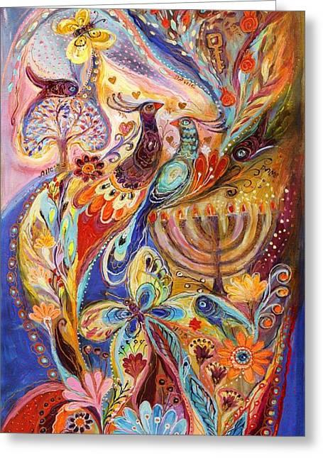 Hanukkah In Magic Garden Greeting Card by Elena Kotliarker