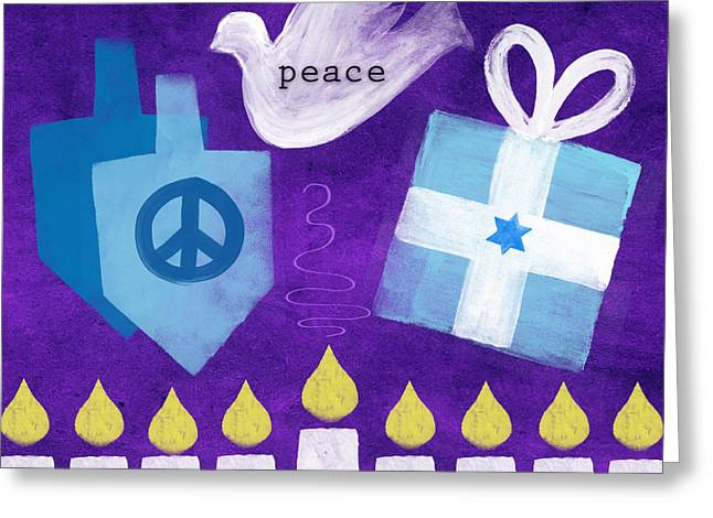 Winters Mixed Media Greeting Cards - Hanukkah Peace Greeting Card by Linda Woods