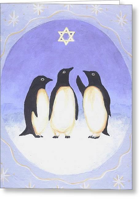 Folk Art Greeting Cards - Hanukkah Penguins Three Greeting Card by Linda Mears
