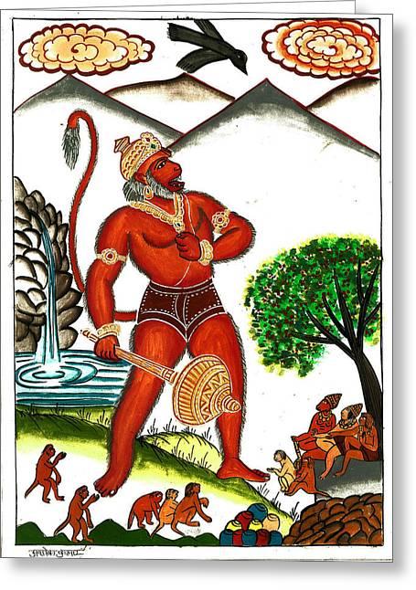 Incarnation Greeting Cards - Hanuman Greeting Card by Ashok Kumar