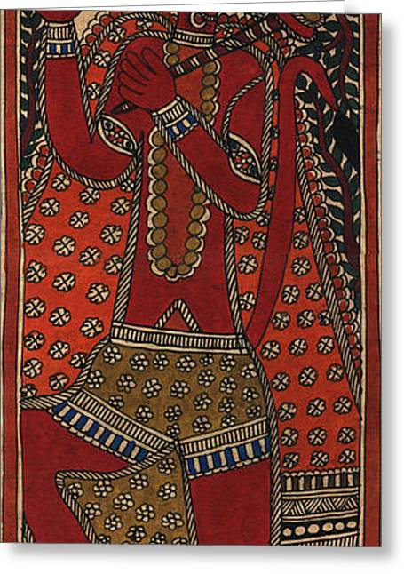 Flying Tapestries - Textiles Greeting Cards - Hanuman Greeting Card by Pallavi