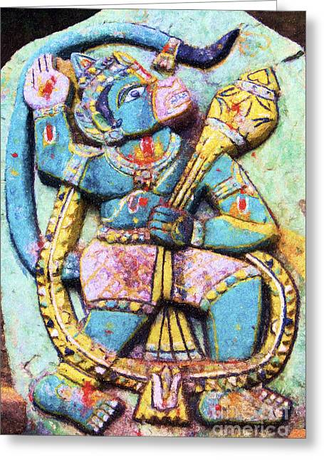 Multicolored Drawing Greeting Cards - Hanuman  Greeting Card by Tim Gainey