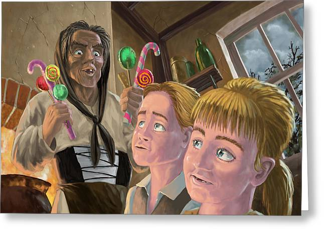 Little Boy Digital Art Greeting Cards - Hanzel and Gretel in witches kitchen Greeting Card by Martin Davey