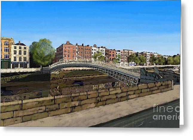 Resturant Art Greeting Cards - HaPenny Bridge Greeting Card by Declan Leddy